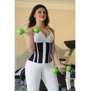 Cinta abdominal Fitness, com 11 barbatanas, abertura frontal - PRETO/BRANCO