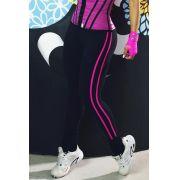 Legging Fitness cós largo, friso pink - PRETO