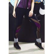 Legging Fitness, tule preto e recorte roxo  - PRETA