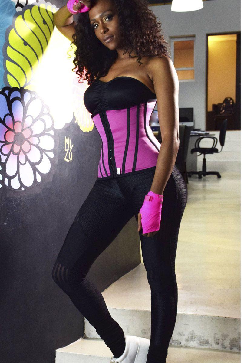 Cinta abdominal Fitness, com 11 barbatanas, abertura frontal - PINK
