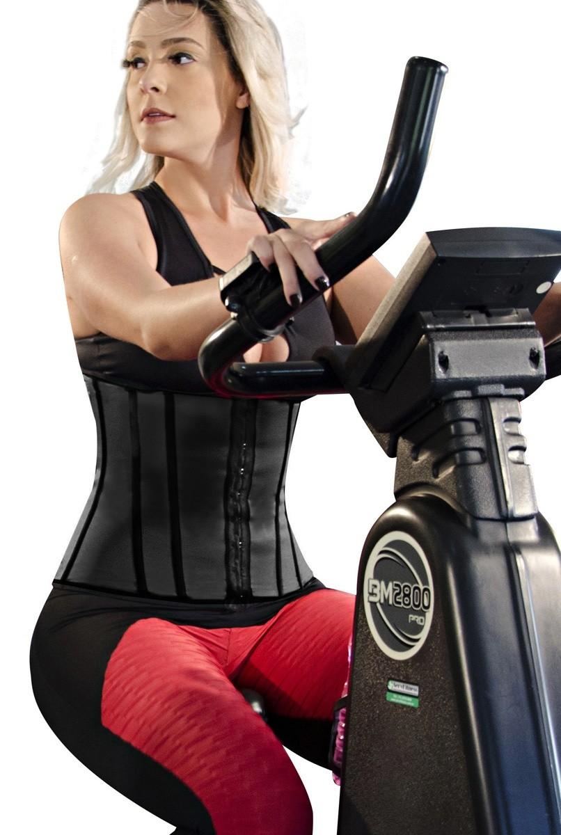Cinta abdominal Fitness, com 11 barbatanas, abertura frontal - PRETO