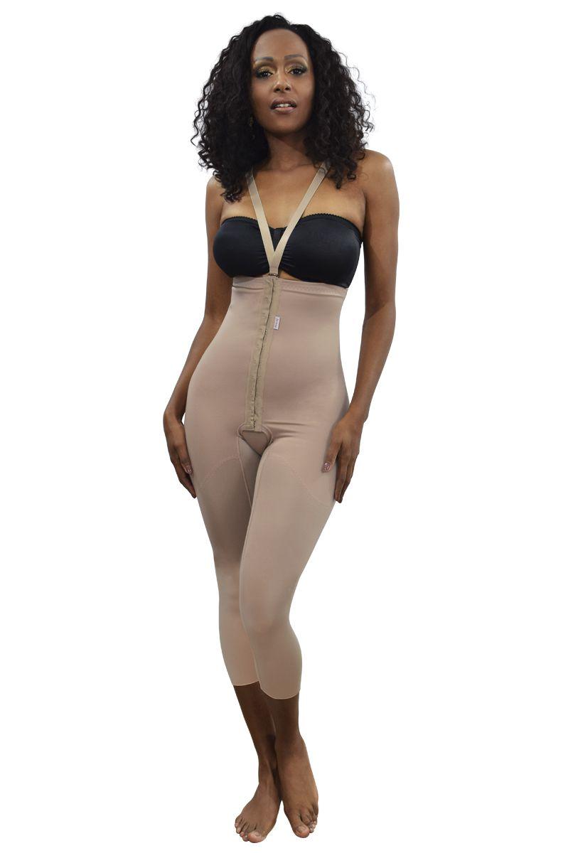 Cinta cintura alta, longa, alça removível com abertura frontal - NUDE
