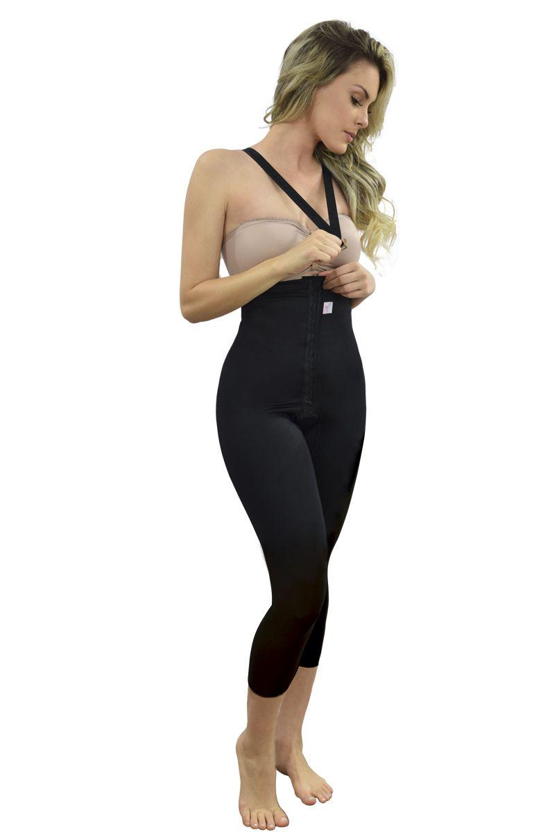 Cinta cintura alta, longa, alça removível com abertura frontal - PRETO