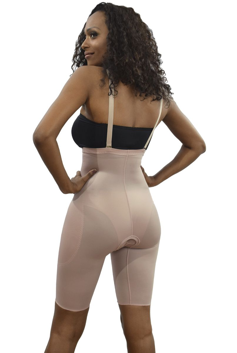 Cinta cintura alta, meia perna, alça removível com abertura frontal - NUDE
