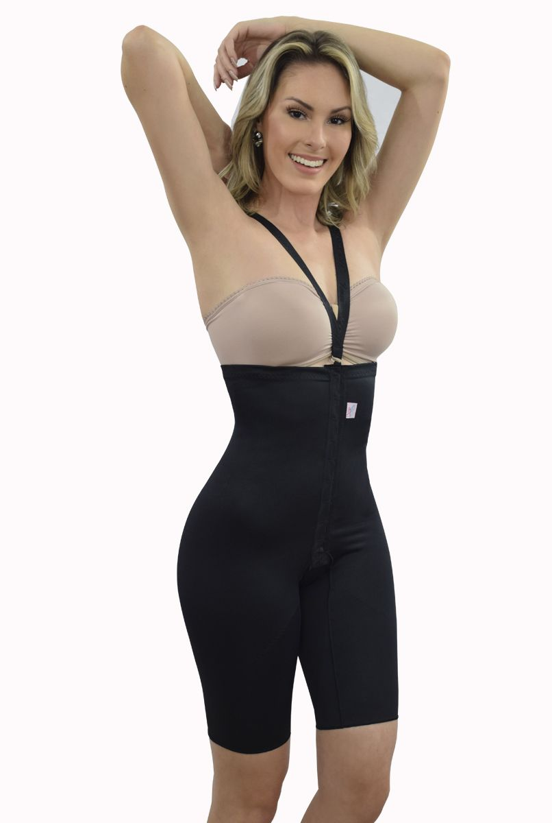 Cinta cintura alta, meia perna, alça removível com abertura frontal - PRETO