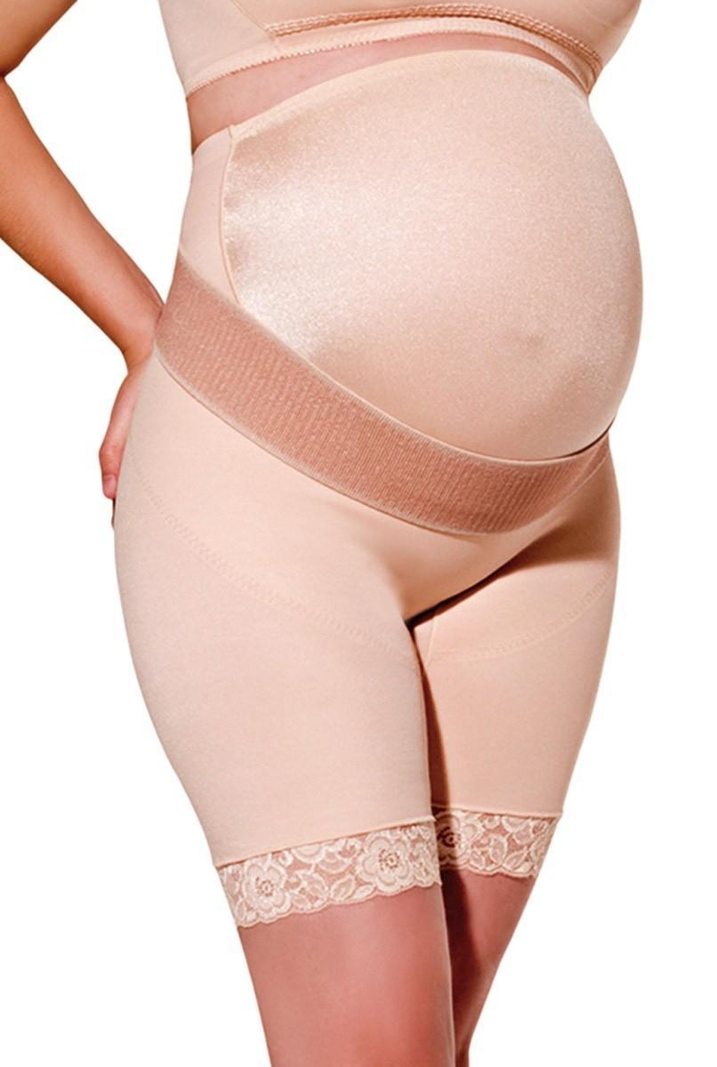 Cinta cintura alta, meia perna, lycra frontal, reforço de sustentação, FECHADA - BEGE
