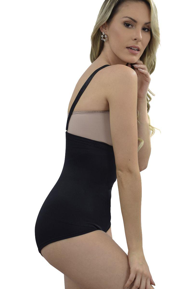 Cinta cintura alta, sem pernas, alça removível com abertura lateral - PRETO