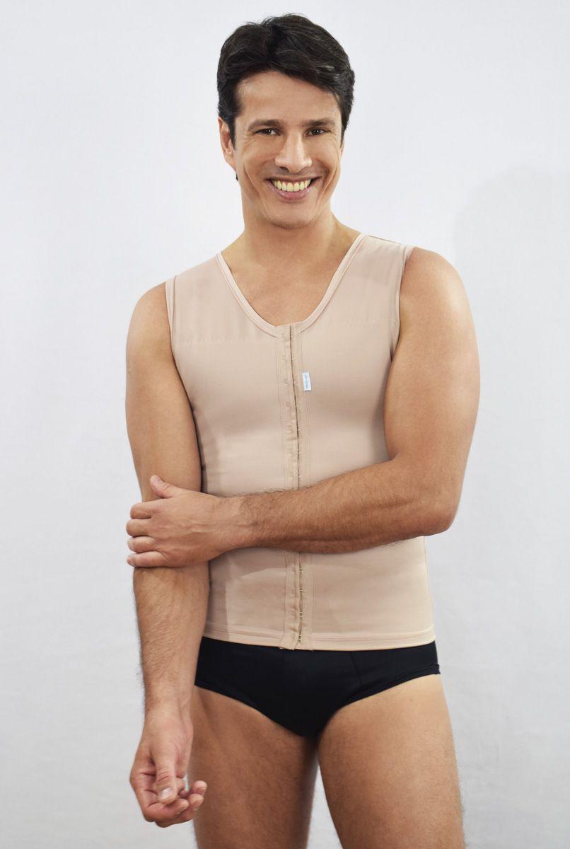 Colete masculino com reforço cruzado nas costas com abertura frontal - NUDE