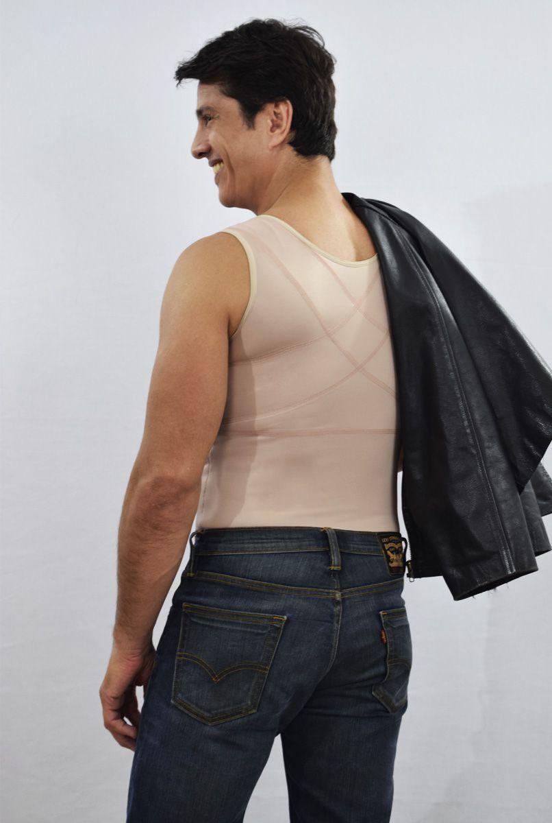 Colete masculino, com reforço cruzado nas costas, FECHADO - NUDE