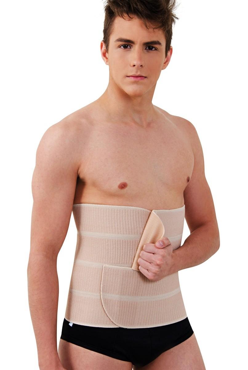 Faixa abdominal em elástico, com 4 gomos, UNISSEX - NUDE