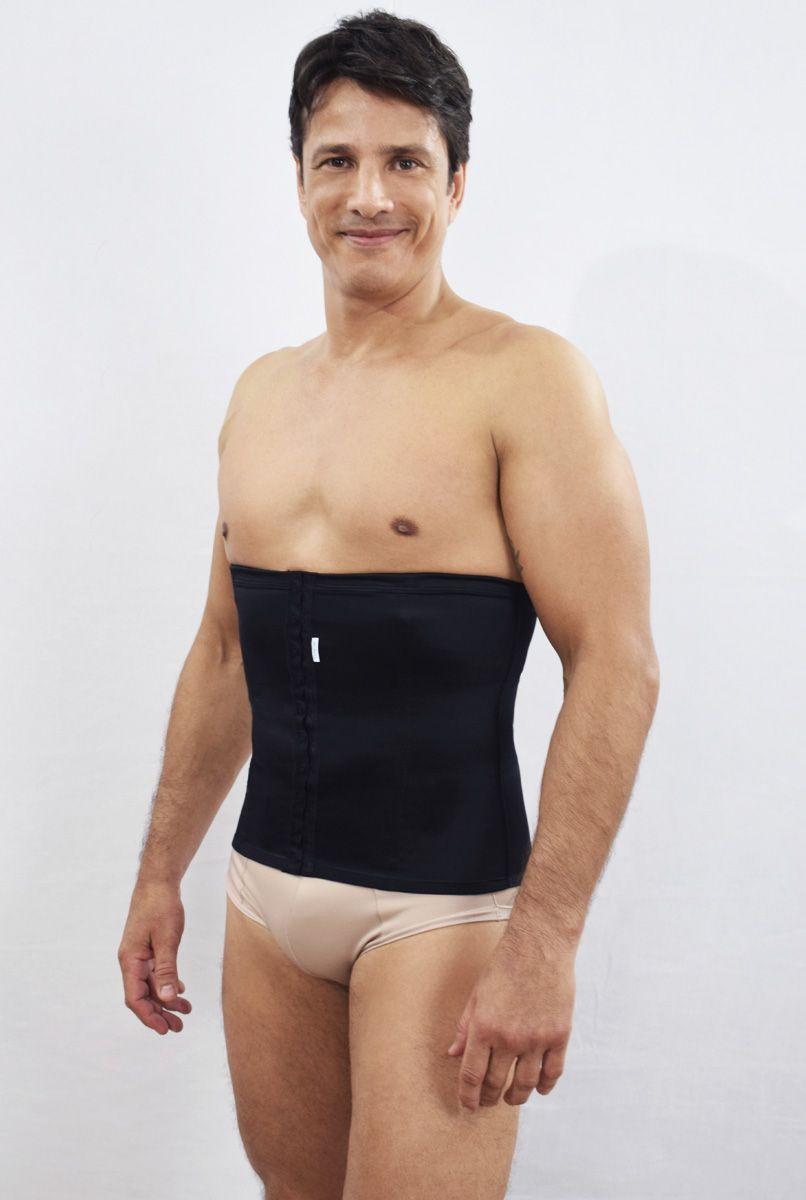 Faixa abdominal MASCULINA, com abertura frontal - PRETO