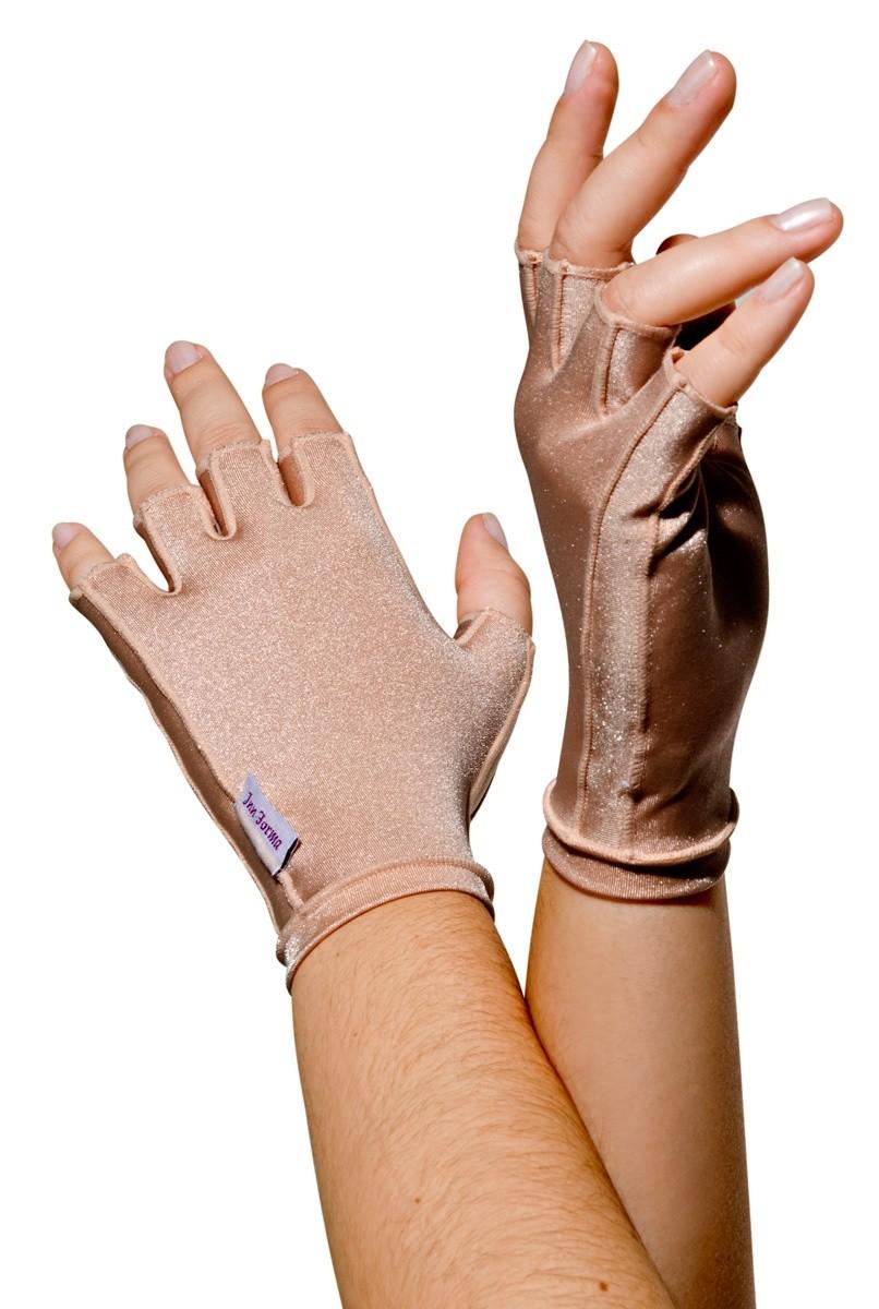 Luva meio dedo, curta em tecido de lycra, UNISSEX - NUDE