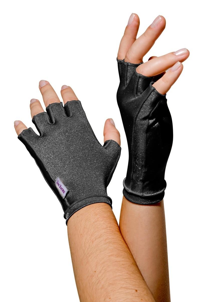 Luva meio dedo, curta em tecido de lycra, UNISSEX - PRETA