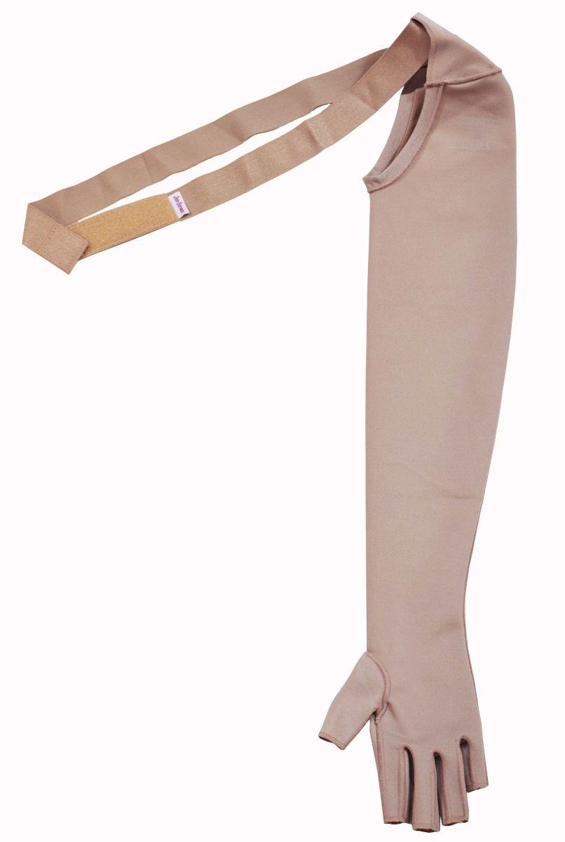 Manga para braço, c/ luva, com dedos e faixa fixadora - NUDE