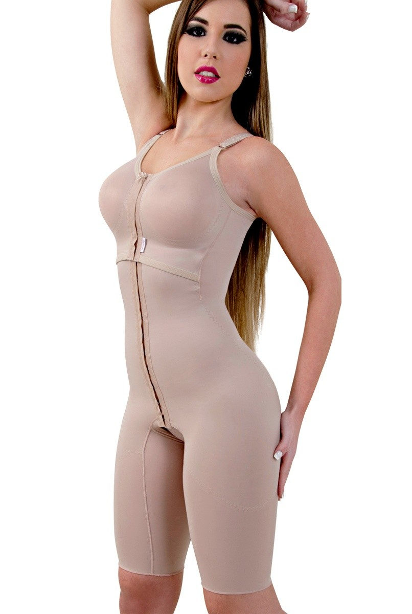 Modelador meia perna, alça fina,  frente subdividida, abertura frontal - NUDE