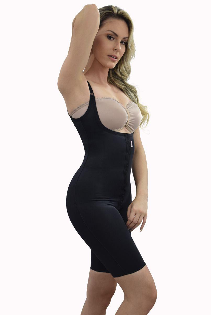 Modelador corselet meia perna, sem sutiã, alça fina, abertura frontal - PRETO