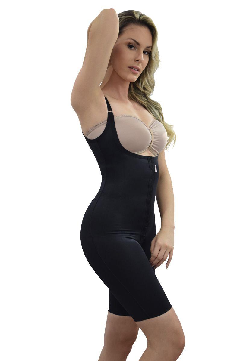 Modelador corselet meia perna, sem sutiã, abertura frontal - PRETO