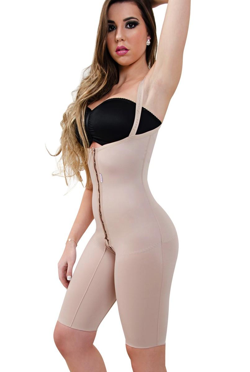Modelador corselet meia perna, sem sutiã, frente reta, alça fina, abertura frontal - NUDE