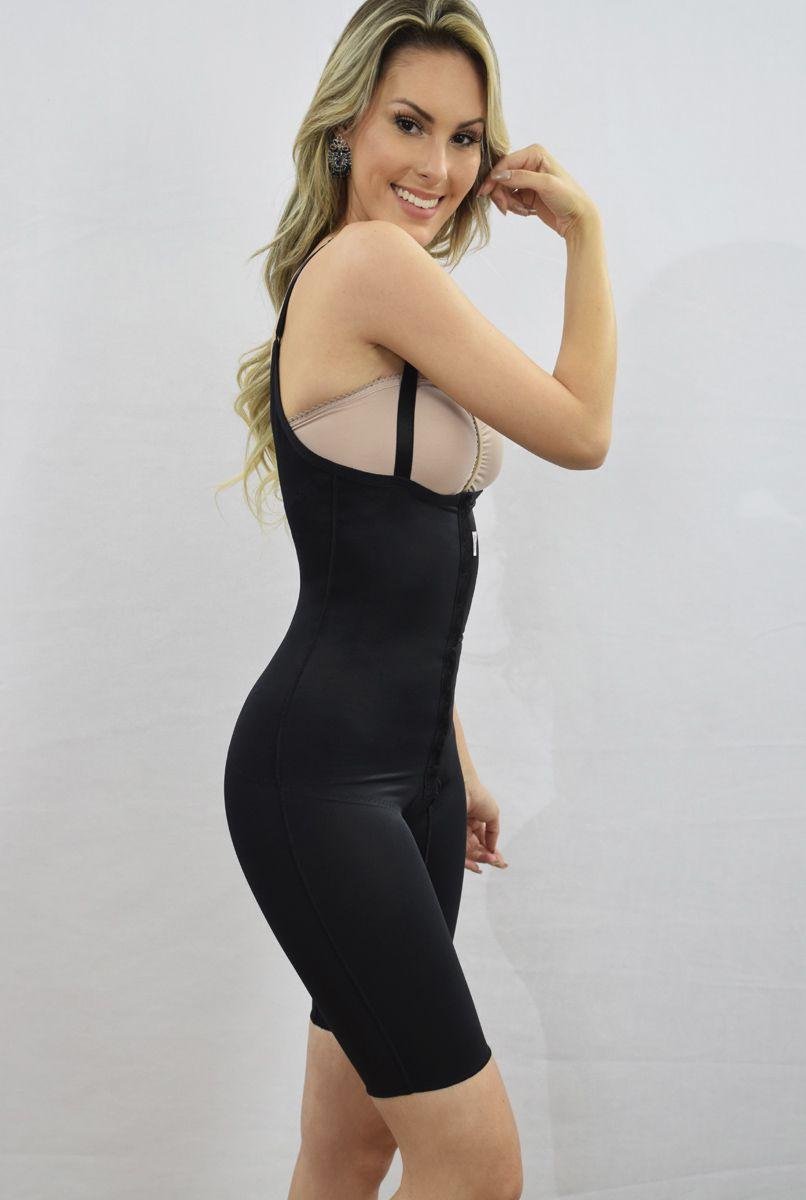 Modelador corselet meia perna, sem sutiã, frente reta, alça fina, abertura frontal - PRETO