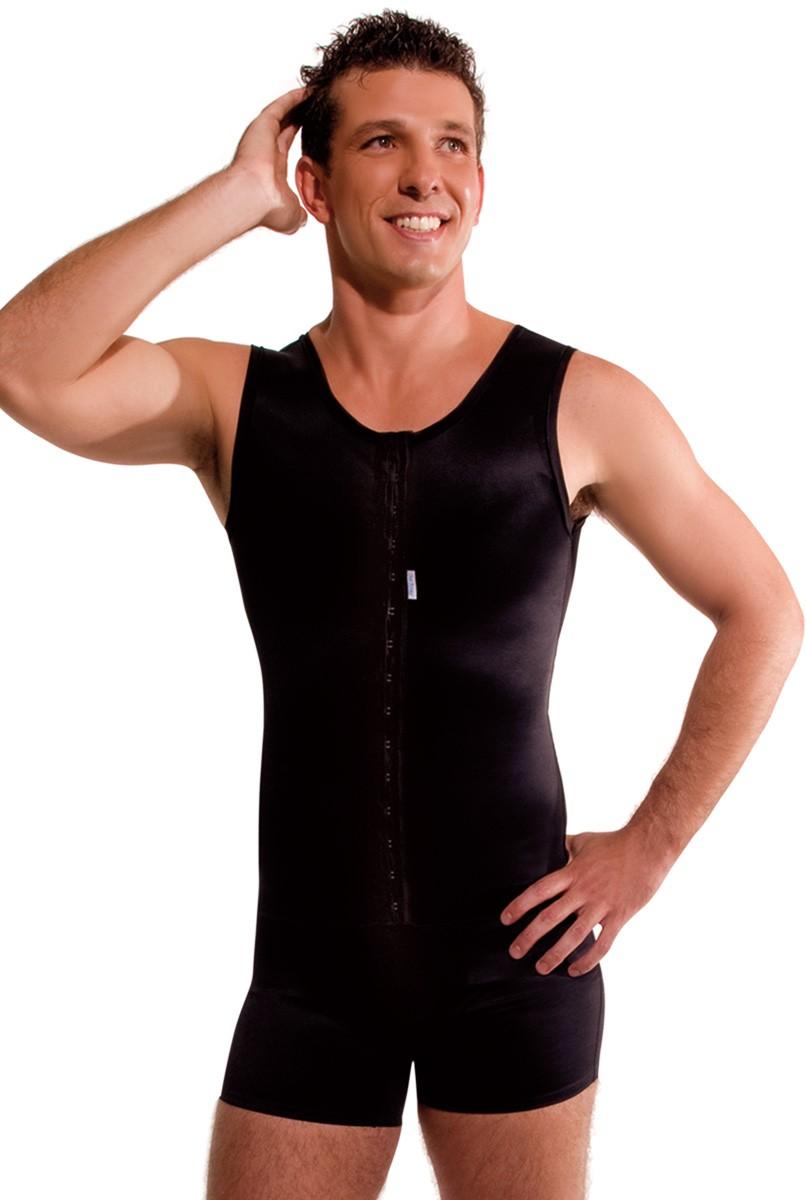 Modelador masculino com cueca boxer, abertura frontal - PRETO