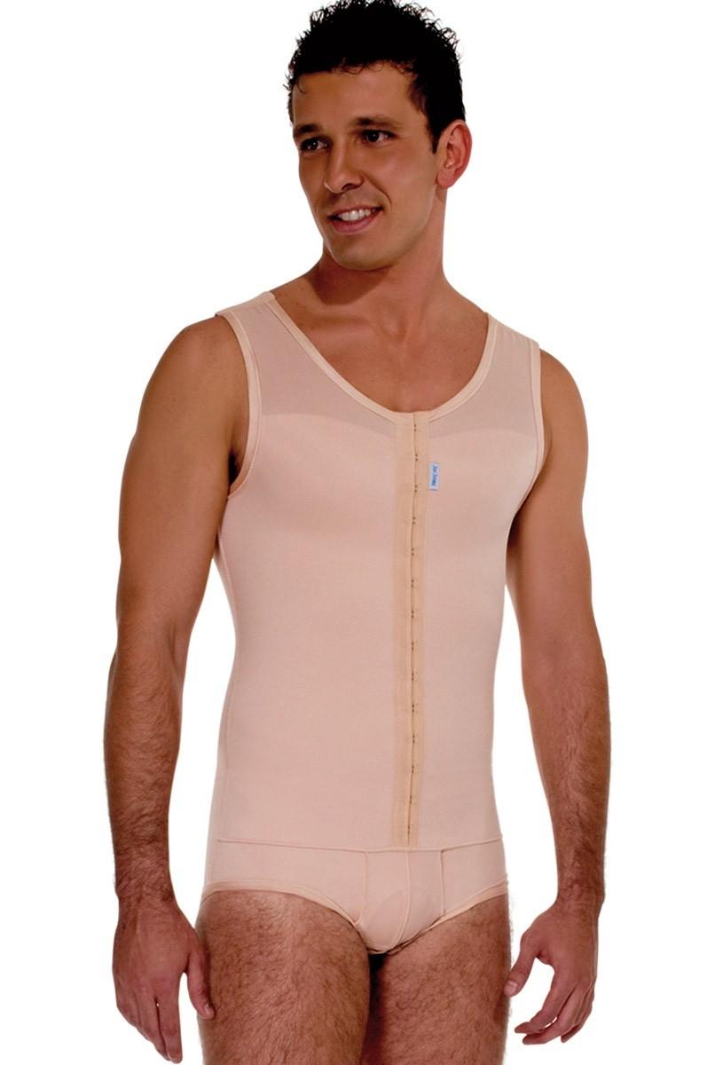 Modelador masculino, com cueca, regata, abertura frontal - BEGE