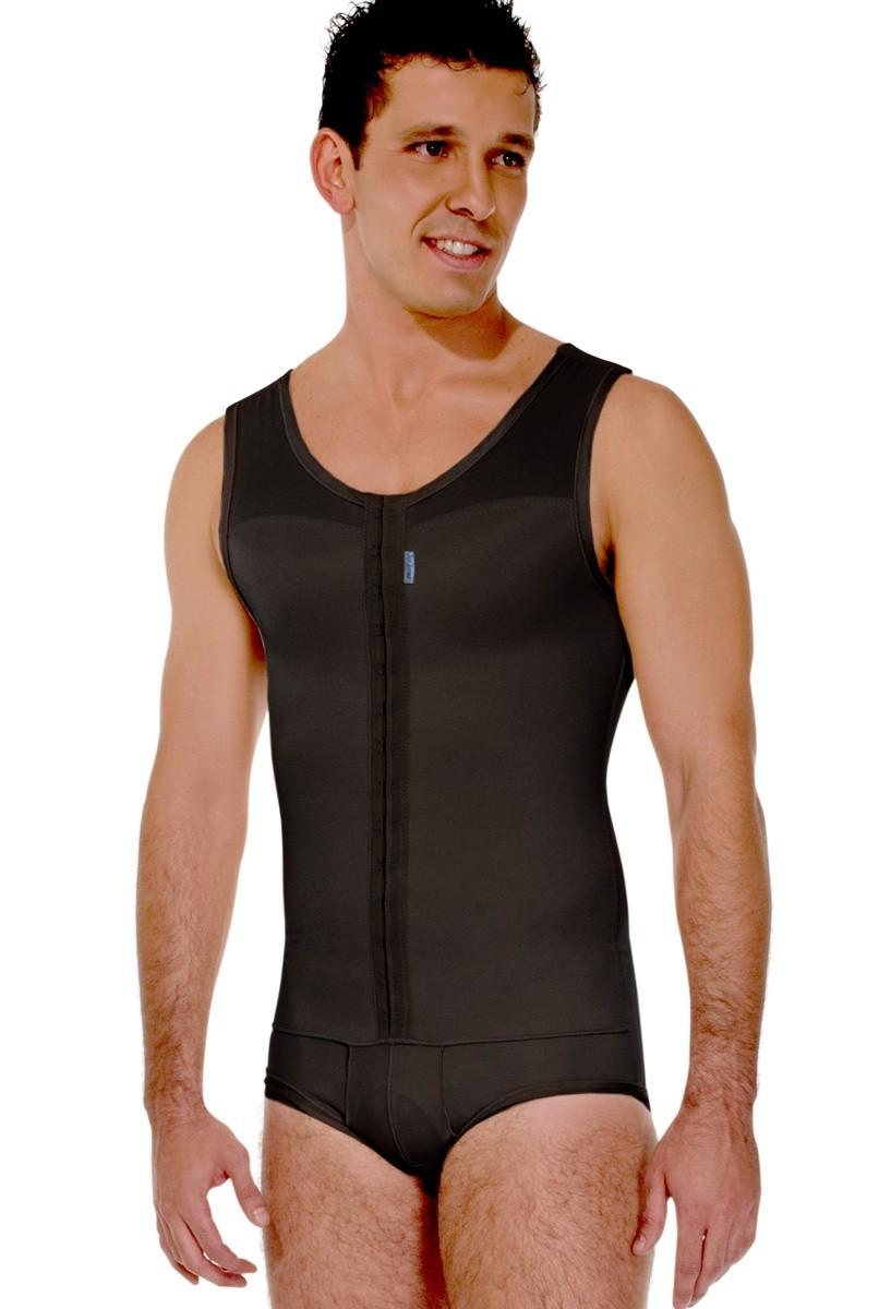 Modelador masculino, com cueca, regata, abertura frontal - PRETO