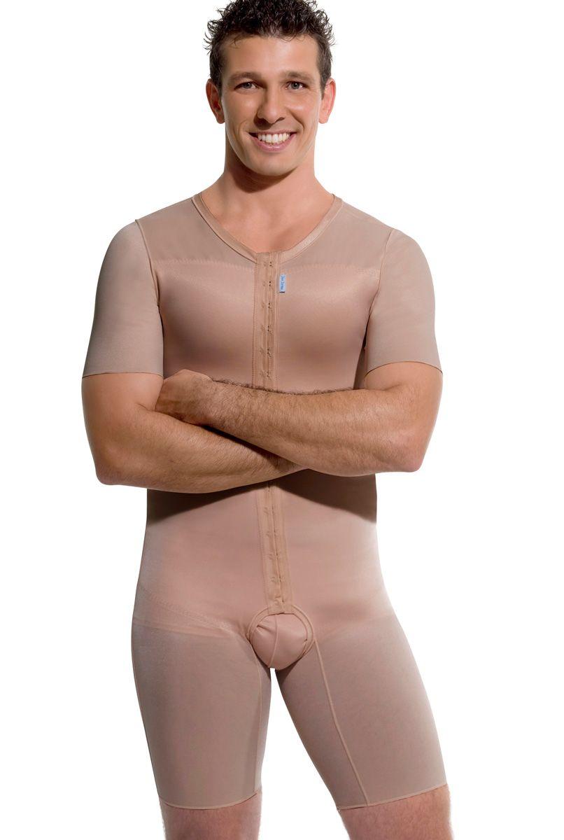 Modelador masculino, meia perna com mangas, abertura frontal - NUDE
