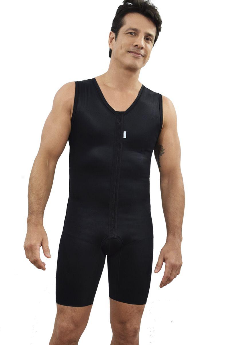 Modelador masculino, meia perna, regata com abertura frontal - PRETO