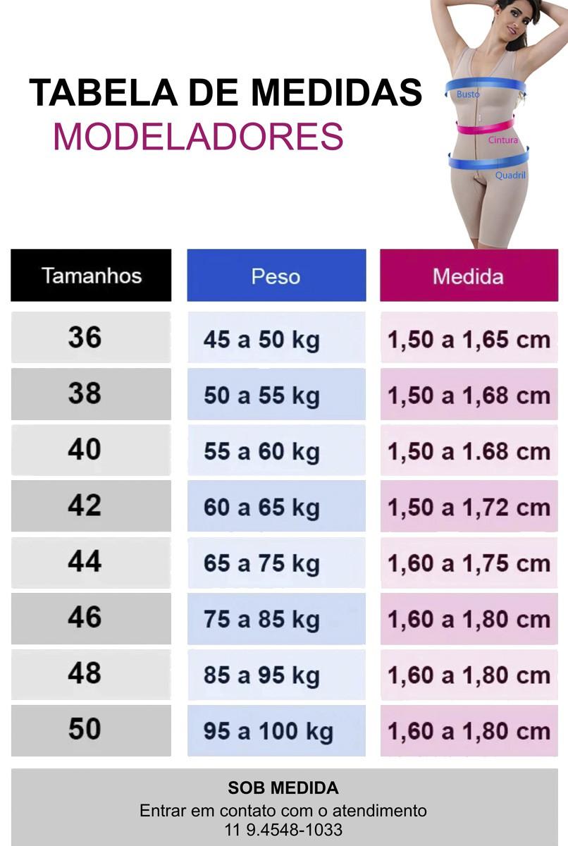 Modelador sem pernas, com mangas, abertura frontal - PRETO