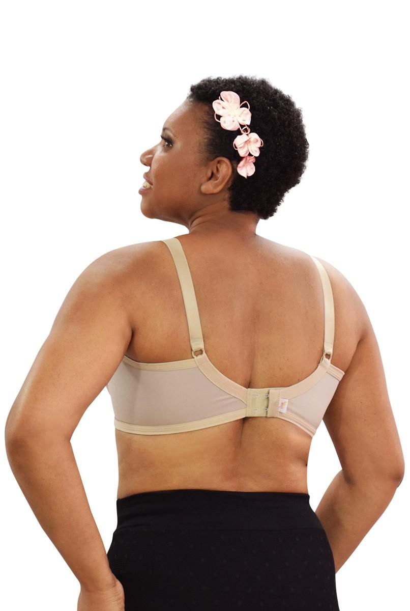 Sutiã em renda com aro e suporte para prótese abertura nas costas - NUDE