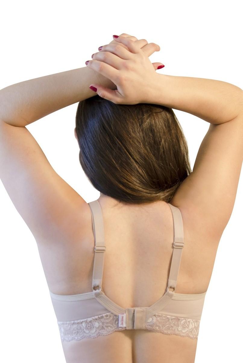 Sutiã rendado, alça fina, abertura nas costas - NUDE