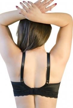 Sutiã rendado, alça fina, abertura nas costas - PRETO