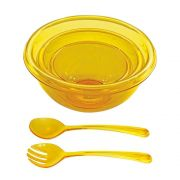 Kit Bowls + Utensílios para Salada Acrílico Amarelo - Kit 05 pçs