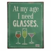 Placa Decorativa Metal Glasses 27 x 35 cm