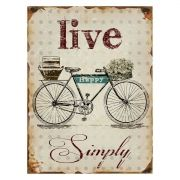 Placa Decorativa Metal Bike - Live Happy 30 x 40 cm