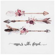Tela Canvas e Fibra de Madeira Arrows with Florals 28 x 28 cm