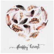 Tela Canvas e Fibra de Madeira Fluffy Heart 28 x 28 cm