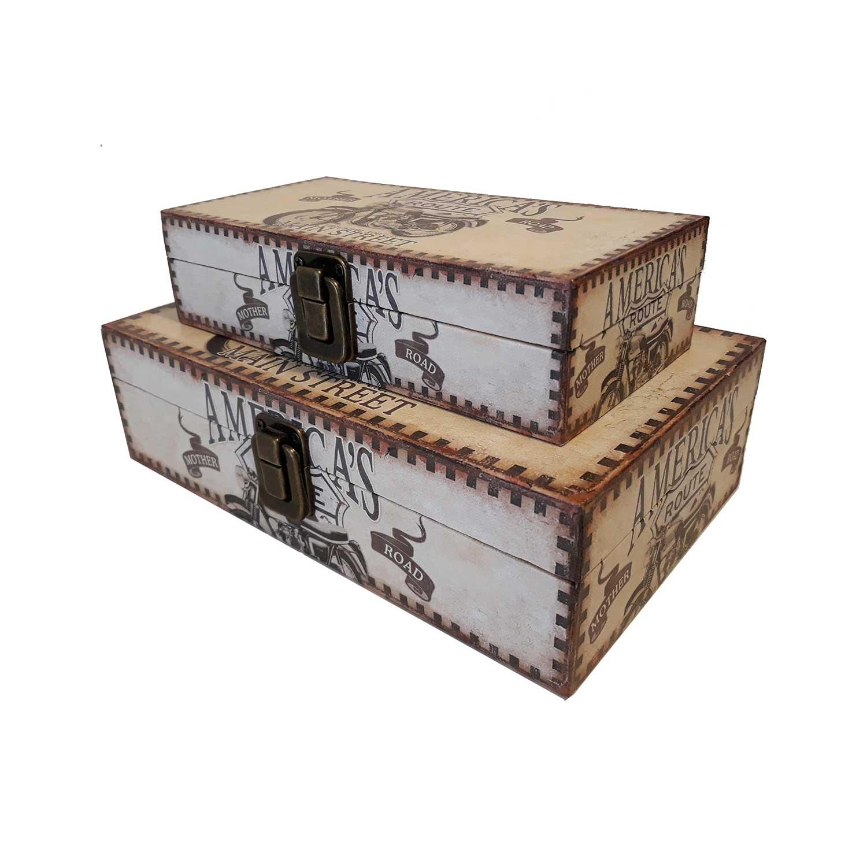 Conjunto Caixas Decorativas America´s Route - 2 pçs