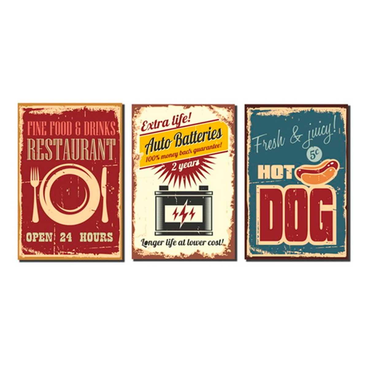 Tela Canvas e Fibra de Madeira Restaurant Fine/Hot Dog Fresh/Auto Batteries  -Kit 03 pçs 21 x 31 cm