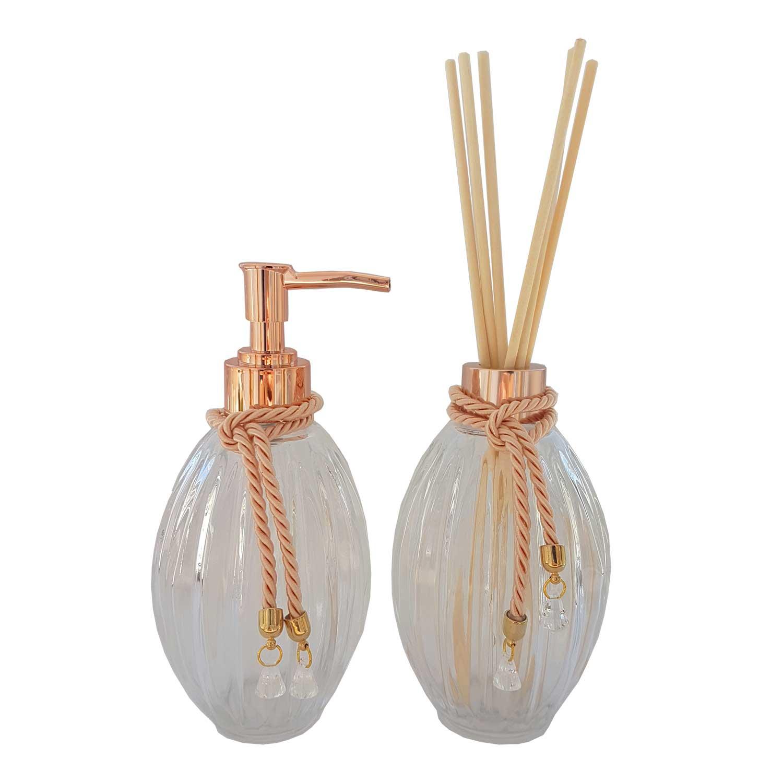 Kit Banheiro Difusor de Aromas e Saboneteira Sofisticado Vidro Canelado 320 ml