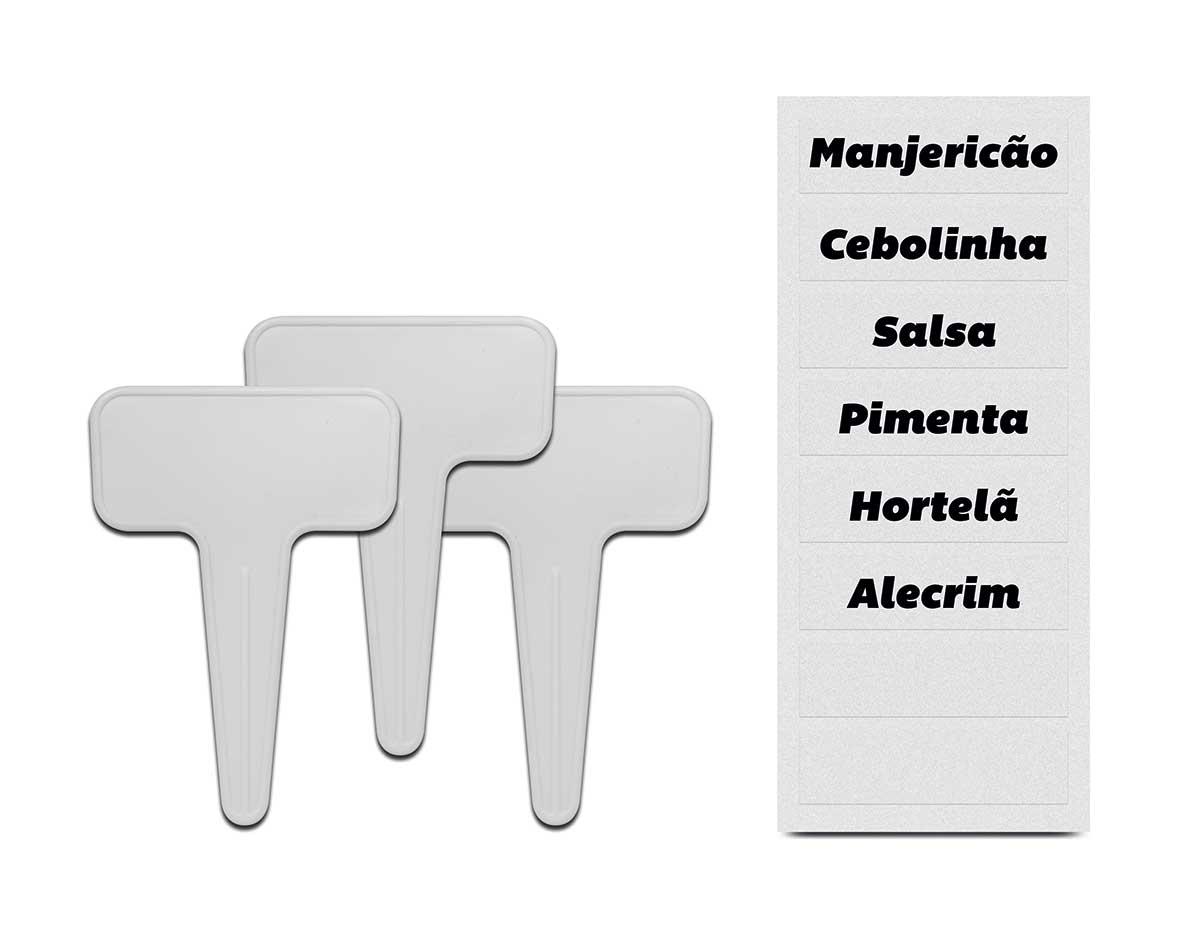 Kit Plaquinhas Identificadoras de Vasos de Temperos Branca  -  03 Unidades