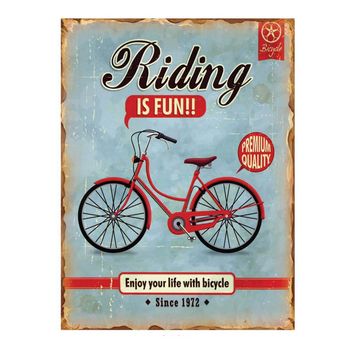 Placa Decorativa Metal Riding Is Fun!! 30 x 40 cm