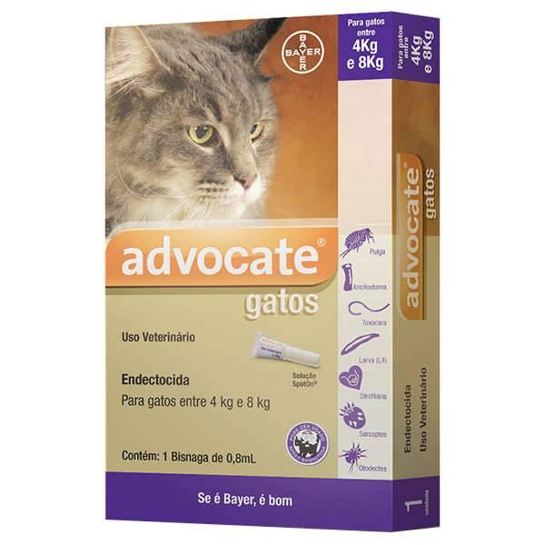 Advocate Gatos de 4 até 8 kg com 0,8mL