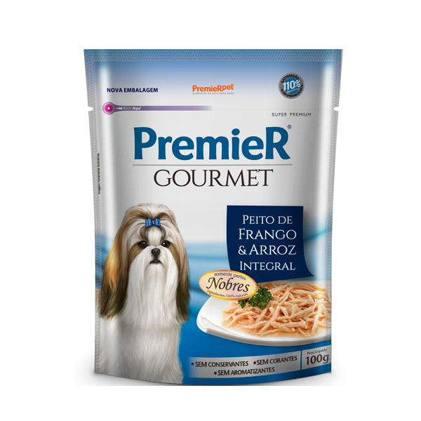 Alimento Úmido PremieR Gourmet Cães Adultos Sabor Peito de Frango e Arroz Integral 100g