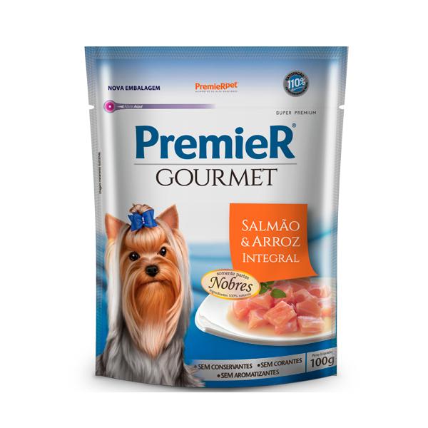Alimento Úmido PremieR Gourmet Cães Adultos Sabor Salmão e Arroz Integral 100g
