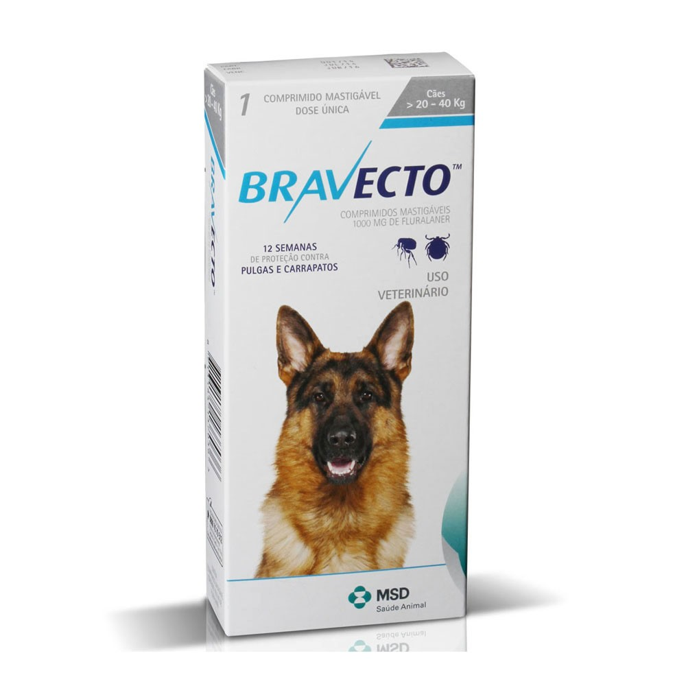 Bravecto 1000mg para Cães de 20 a 40 kg