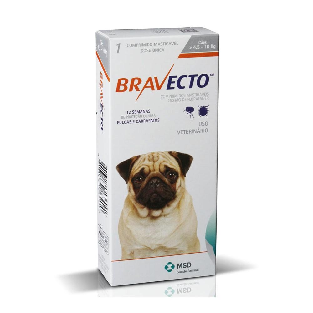 Bravecto 250mg para Cães de 4,5 a 10 kg