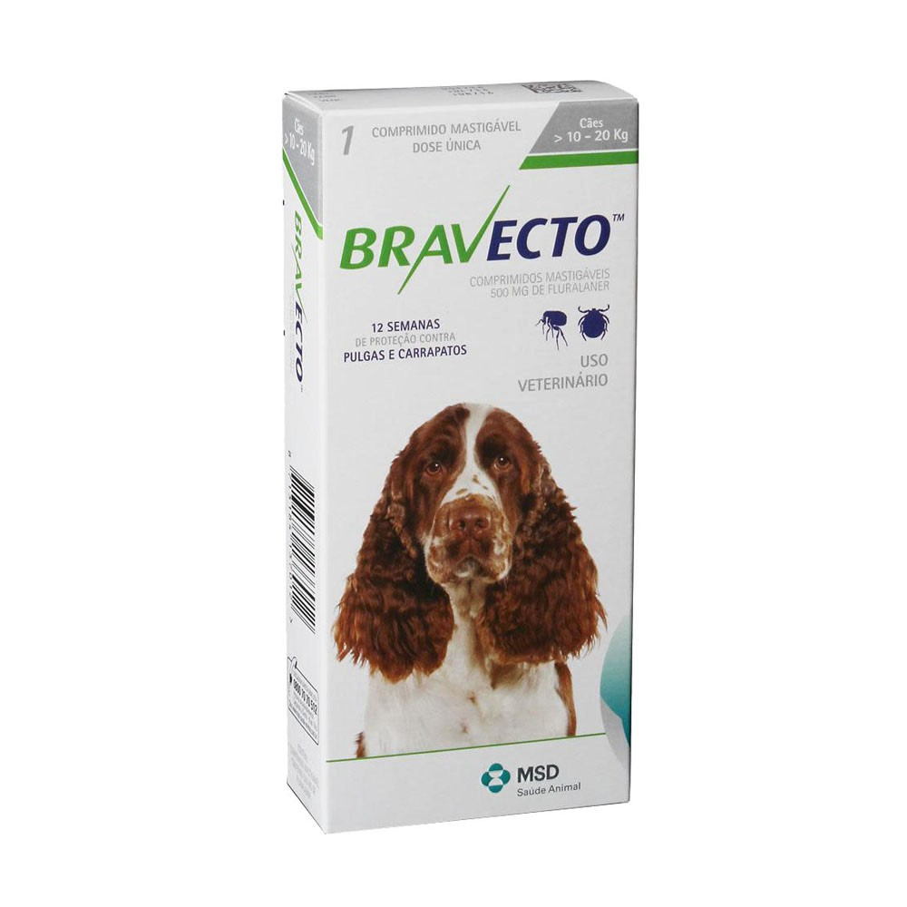 Bravecto 500mg para Cães de 10 a 20 kg