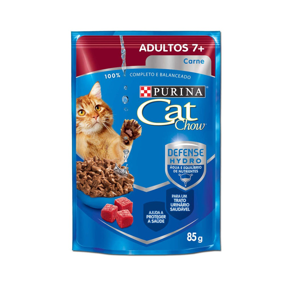 Cat Chow Adultos 7+ Sachê Carne ao Molho