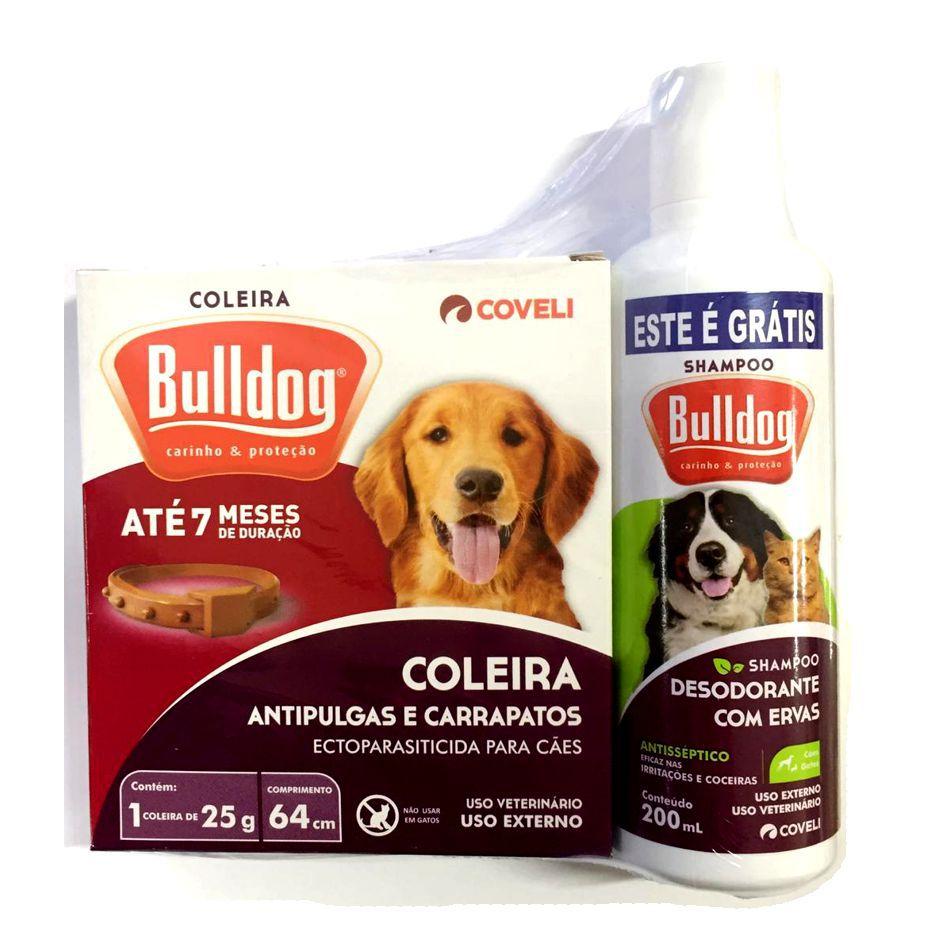 Coleira Bulldog Antipulgas e Carrapatos + Grátis Shampoo Bulldog Desodorante com Ervas